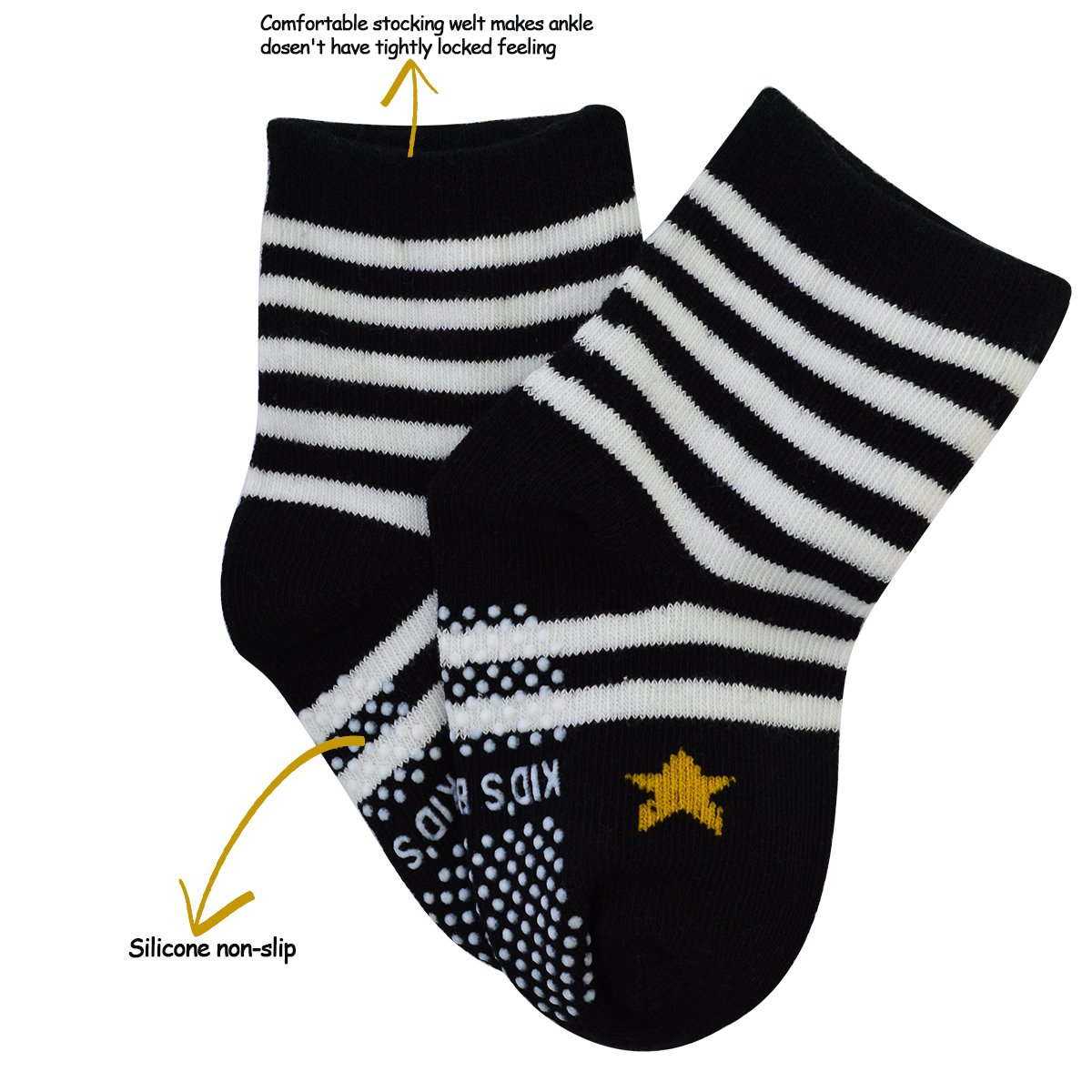 6 Pairs Assorted Anti Slip Ankle Cotton Socks with Grip Baby Toddler Non-skid Cotton Stretch Knit Stripes Star Non Slip Socks Slippers for 12-36 Months Boys Girls Infant Kids