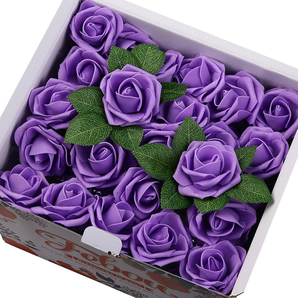 Febou Artificial Flowers, 100pcs Real Touch Artificial Foam Roses Decoration DIY for Wedding Bridesmaid Bridal Bouquets Centerpieces, Party Decoration, Home Display (Concise Type, Purple)