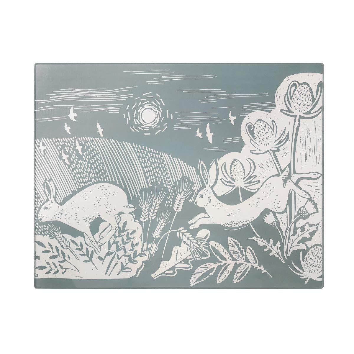 English Tableware Co. Artisan Hare Toughened Glass Worktop Saver, 40 x 30cm DAVID MASON DESIGN