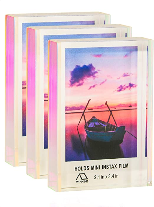 Wedding//Christmas Card Frame with Gift Box Package WINKINE 5x7 Iridescent Acrylic Photo Frame Clear Block Rainbow Block Double Sided Self Standing Desk Picture Display
