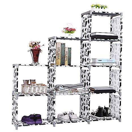 Tomasar 9 Cubes Bookshelf DIY Combination Storage Rack Book Case For Children Boy Girl