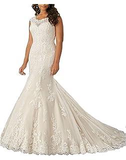 3811b2e2645 Dannifore Women s Floral Lace Bridal Gown Mermaid Long Wedding Dresses For  Bride