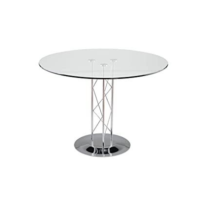 Contemporary Bar Table W Glass Top U0026 Chrome Base   Trave (42 In. Glass