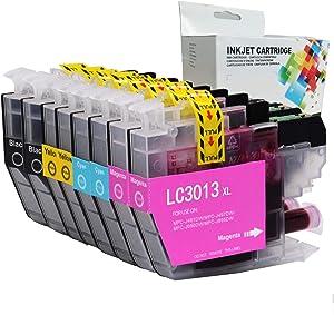 Linkcolor Compatible LC3011 LC3013 Ink Cartridge Replacement for Brother LC3013 LC-3013 Ink Cartridge for Brother MFC-J491DW MFC-J497DW MFC-J690DW MFC-J895DW(2 Black,2 Cyan,2 Magenta,2 Yellow) 8PK