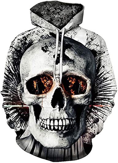 Man Zipper Hoodie Skeleton Skull 3D Graphic Full Printed Casual Sweatshirts Tops