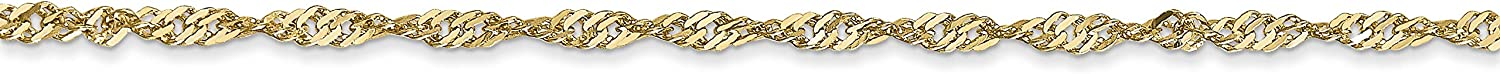 14k Yellow Gold 16in 1.60mm Singapore Necklace Chain