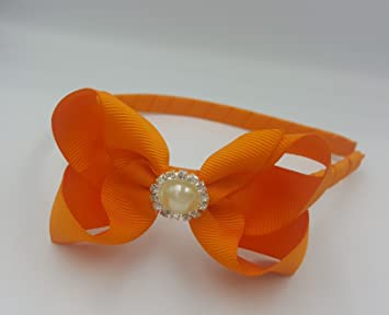 Alice Band With Bow Girls Ribbon Hair Band Headband (Orange with ... 3b962b45445