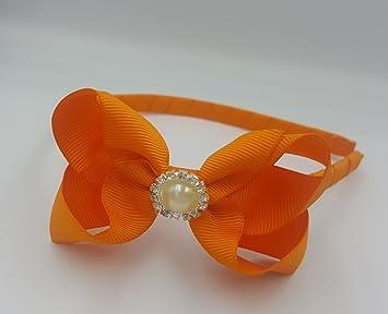 Alice Band With Bow Girls Ribbon Hair Band Headband (Orange with ... d159f986e53