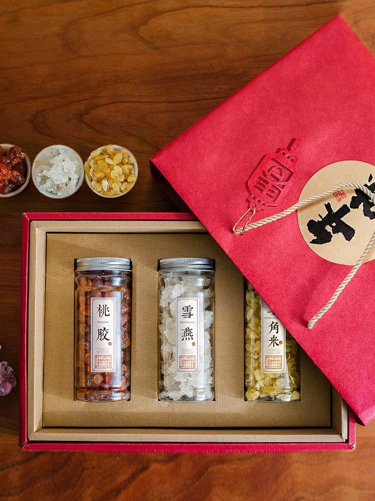桃胶雪燕皂角米三组合 年货礼盒装 走心高品质独立三瓶装