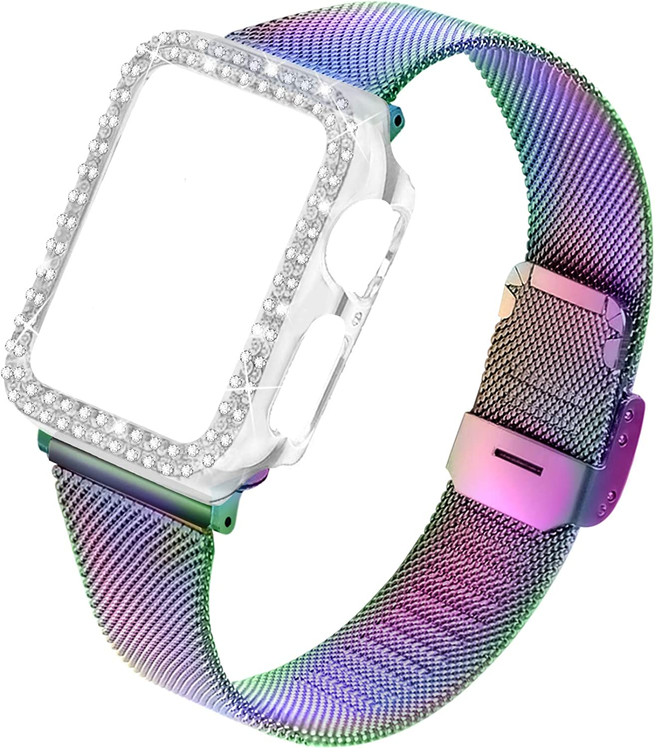 Joyozy Stainless Steel Mesh bands Compatible For Apple Watch 38mm 40mm 42mm 44mm,Women Bling Protective Crystal Diamond Case with Loop Mesh Strap For Iwatch Series 6/SE/5/4/3/2/1(No Tool Needed)