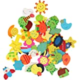 WLM Colorful Wooden Cartoon Refrigerator Magnets for Children (Pack of 48)