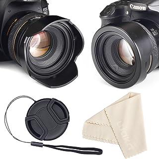 52mm Reversible Tulip Flower Lens Hood Set, Unique Design Camera Lens Hood for Canon Nikon Sony DSLR + Center Pinch Lens Cap with Cap Keeper Leash + Microfiber Cleaning Cloth