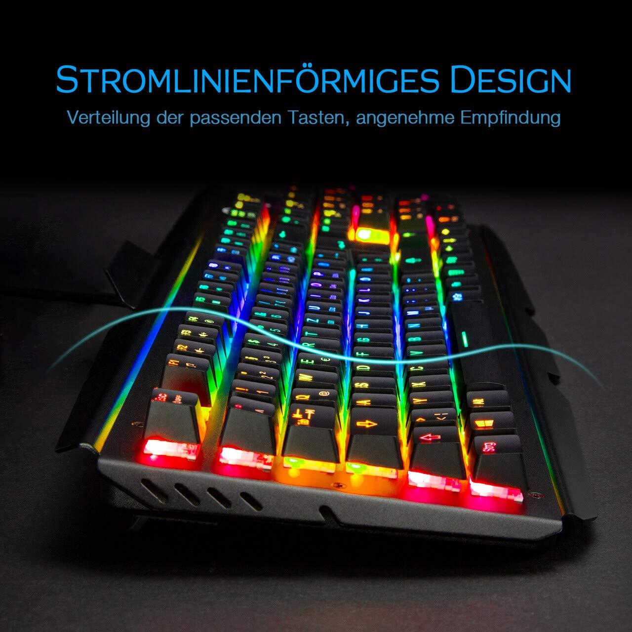 OMBAR Mechanische Tastatur Gaming-Tastatur keyboard blaue Schalter mit acht RGB Hintergrundbeleuchtung, Deutsches Tastaturlayout Anti-Gosting