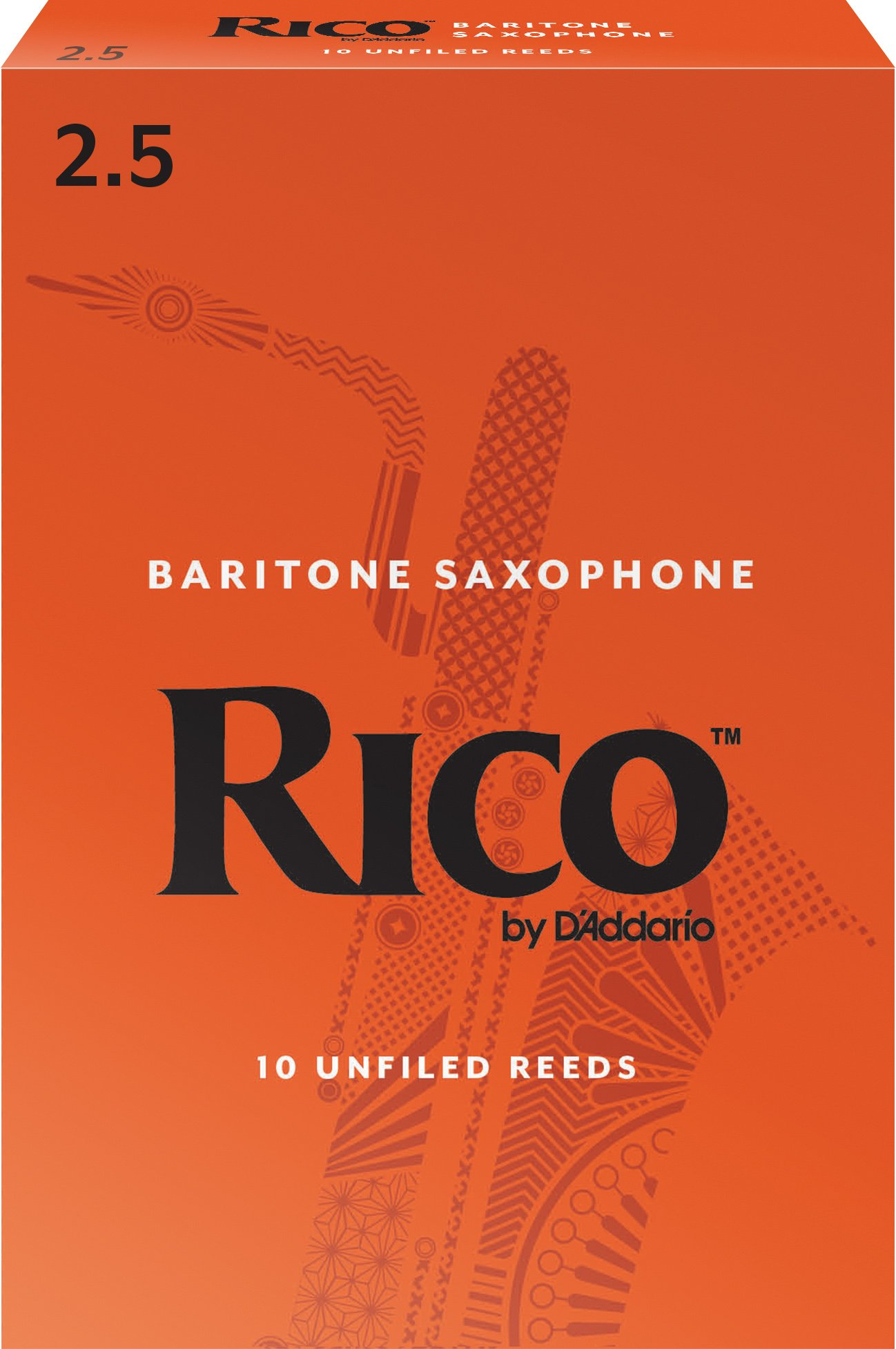 Rico Baritone Sax Reeds, Strength 2.5, 10-pack by D'Addario Woodwinds