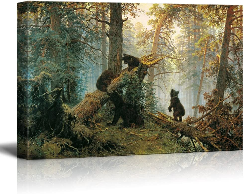 "wall26 - Black Bears in Forest Painting - Canvas Art Wall Decor - 16""x24"""