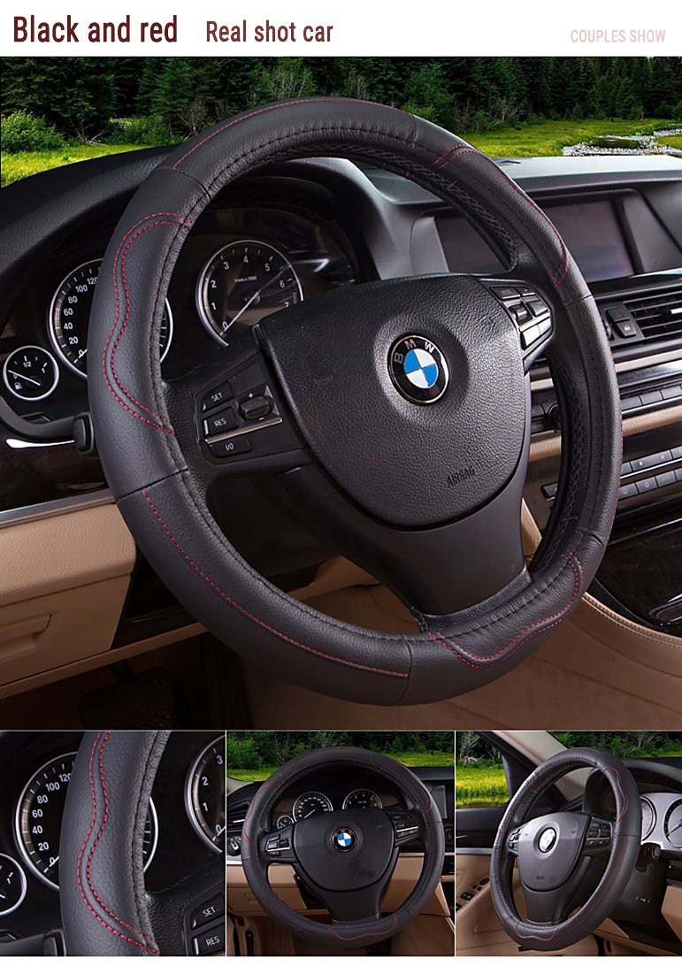Movement Fashion Genuine Leather Car Steering Wheel Cover Fits 38cm 15 inch Auto Steering Breathable Anti Slip Skidproof- Black&red
