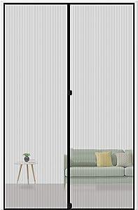 """MAGZO Magnetic Screen Door 32 x 96, Reinforced Fiberglass Mesh Curtain Back Door Mesh with Full Frame Hook&Loop Fits Door Size up to 32""""x96"""" Max-Grey"""