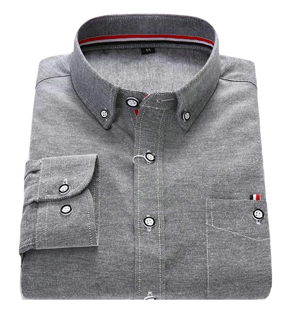 Macondoo Men Solid Business Long Sleeve Turn Down Tops Button Up Shirts