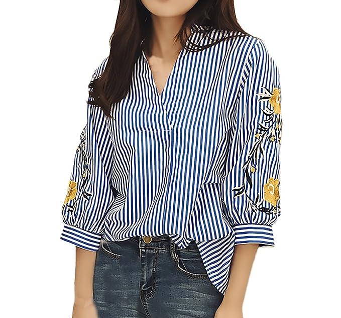 Blusas De Mujer Elegantes Primavera Verano Vintage Bordadas De Basic Ropa Flores Camisas 3/4