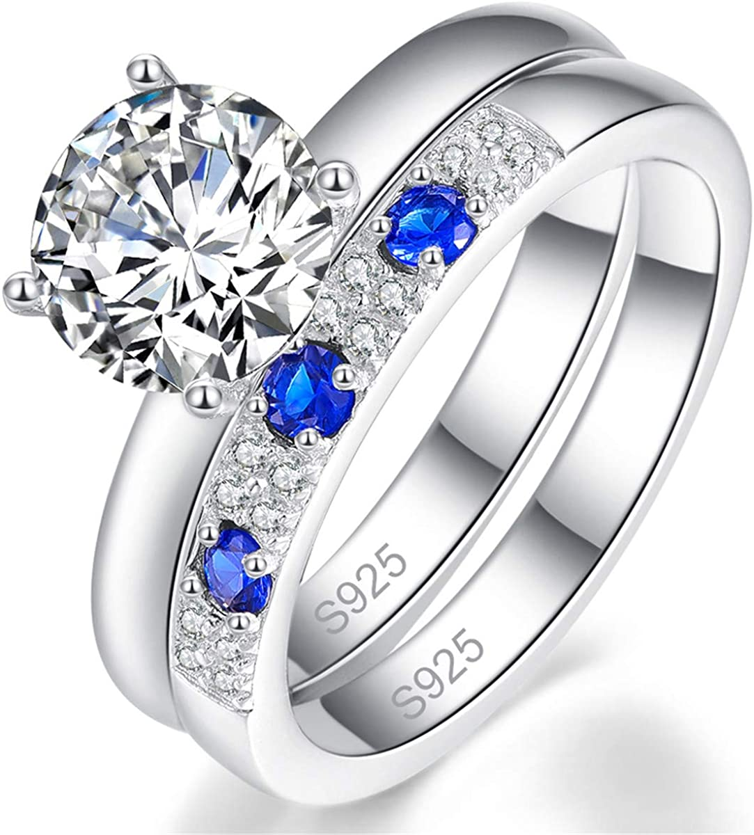 BONLAVIE Wedding Engagement Rings Set Bridal Sets Ring 925 Sterling Silver Created Sapphire Size 6-9