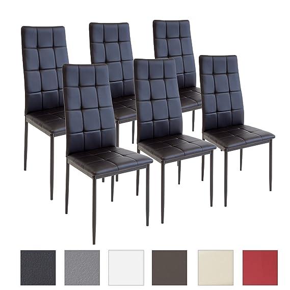 Albatros silla RIMINI, Set de 6 sillas, Negro, certificada por la SGS, silla de comedor: Amazon.es: Hogar