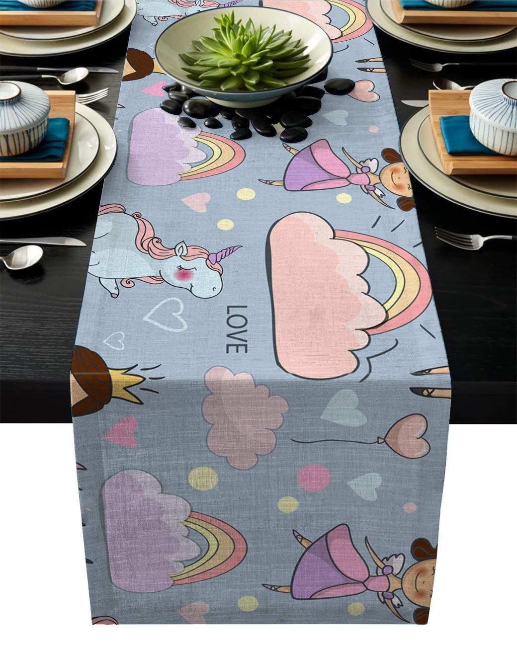 IDOWMAT Linen Burlap Table Runner Dresser Scarves 14 x 72 Inch, Cute Fairy Princess Unicorn Kitchen Table Runners for Farmhouse Dinner, Holiday Parties, Wedding, Events, Decor
