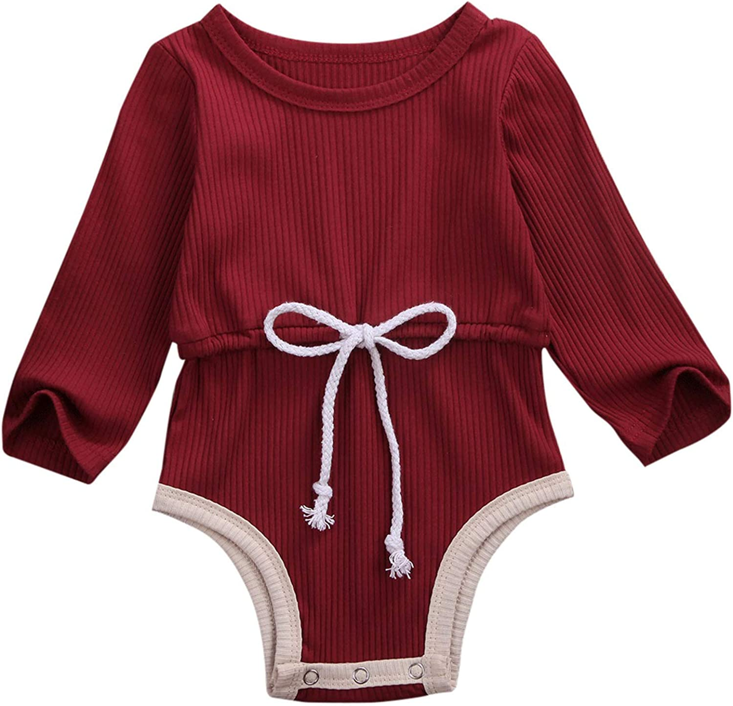 WonderBabe Newborn Infant Romper Toddler Girl One-Piece Jumpsuit Solid Color Long-Sleeve Ruffle Onesie Baby Girls Bodysuit Outfit Clothes with Headband