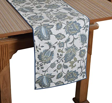Bilberry Furnishing By Preeti Grover 100% Cotton White & Aqua Elegant Print Table Runner (TR_19) - (Table Runner Size 14x72)