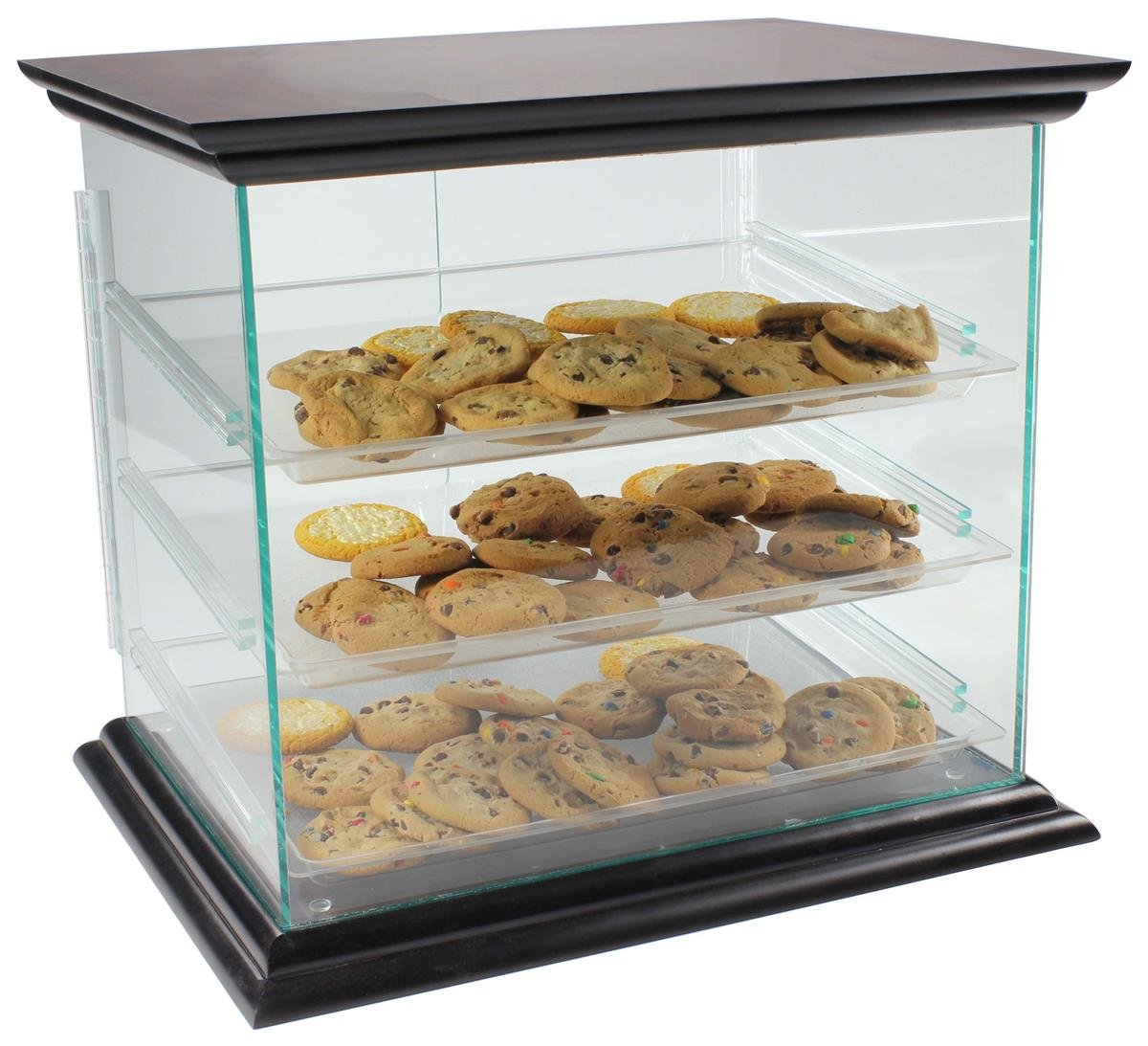 Cookie Display Case With Mahogany Canopy And Base, Countertop, Green Edge Acrylic, Hinged Magnetic Doors, Removable Trays, 21 x 18-1/4 x 17-Inch