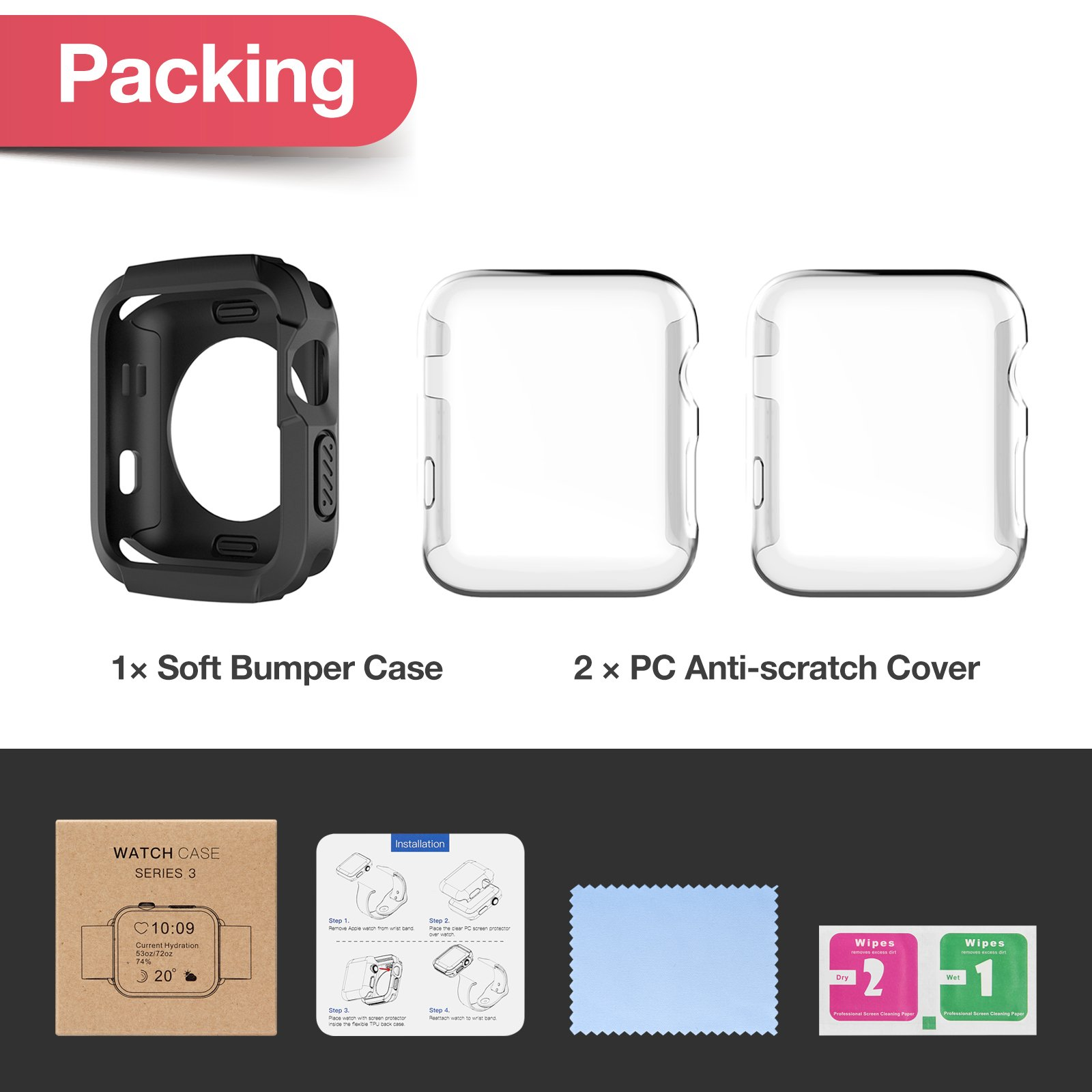 Apple Watch 3 Case, iVAPO 2-Pack Apple Watch Case with Screen Protector Cover Anti-scratch 360° Shock Absorption Hard Protective Bumper Case for Apple Watch Series 3 42mm Black (Need Stronger Press) by iVAPO (Image #6)