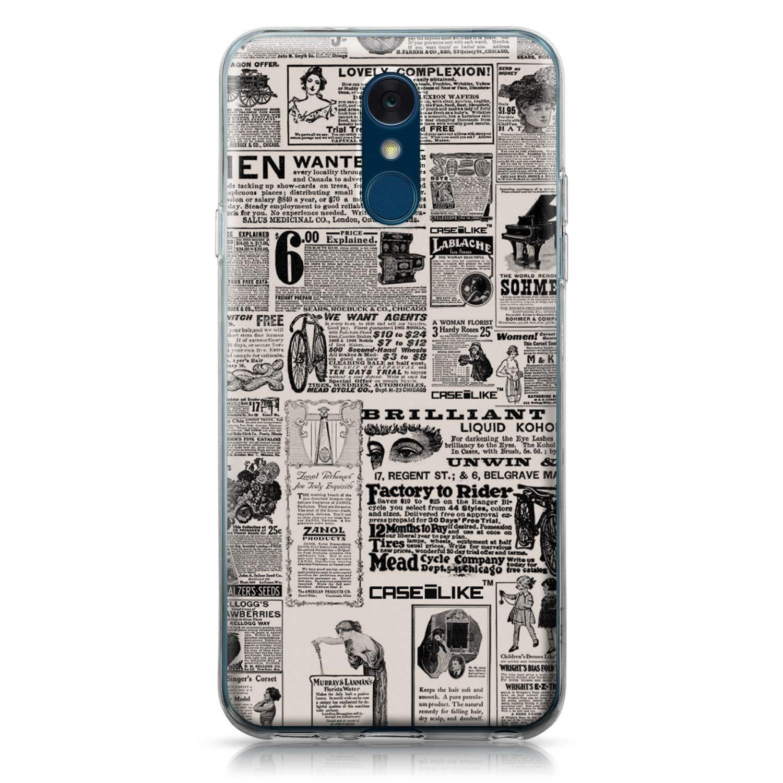CASEiLIKE® Funda LG Q7, Carcasa LG Q7, Periódico Vintage Publicidad 4818, TPU Gel Silicone Protectora Cover
