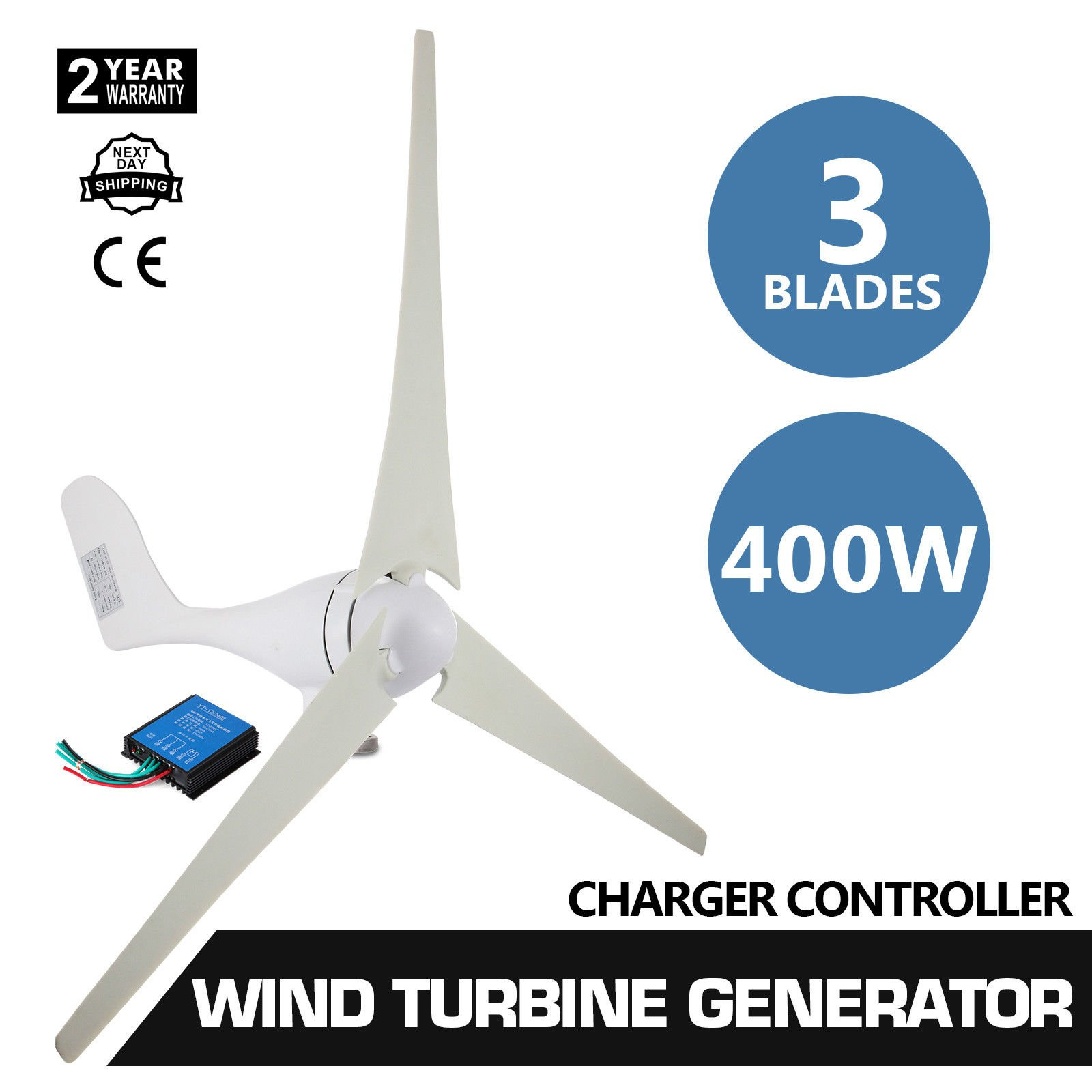 400W 12V 3 Blade Wind Turbine Generator 20A with Charger Environmental Controller PBT Leaf
