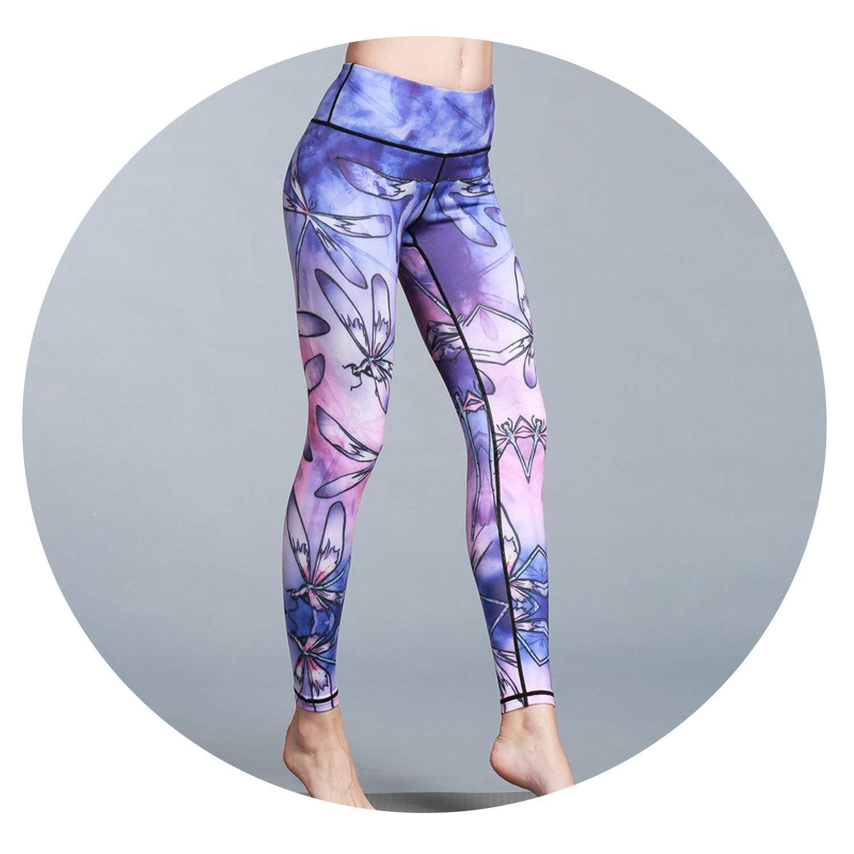 Purple Dragonfly Prints Women Yoga Pants High Waist Leggings Gym Elastic Fitness Long Tights Tummy Control