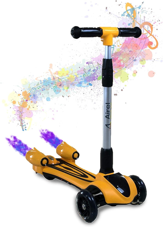 Bambini 3 ruote scooter Push con luce LED FUMO SPRAY MUSICA BATTERIA RICARICABILE