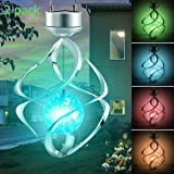 2 Pack Hanging Solar Lights Outdoor Solar Wind Chimes LED Colour Changing Hanging Lights Spiral Spinner Lamp for Design Decoration for Garden, Patio, Balcony Outdoor & Indoor