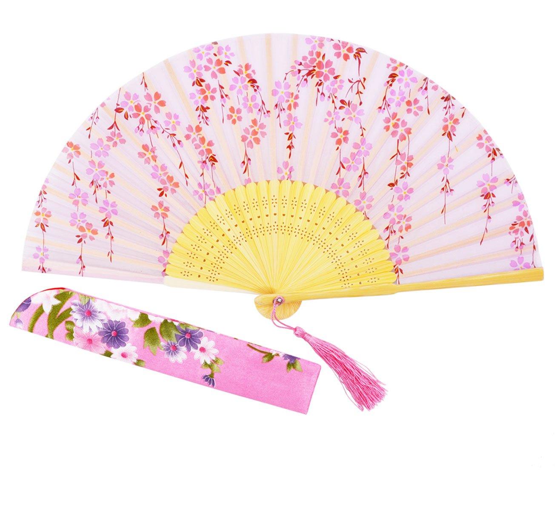 Sthuahe, ventaglio pieghevole in seta, realizzato e dipinto a mano con splendidi sakura, di 21cm, con telaio in bambù cavo intagliato, ottimo come regalo, per matrimonio, ballerine, principesse, Skyblue