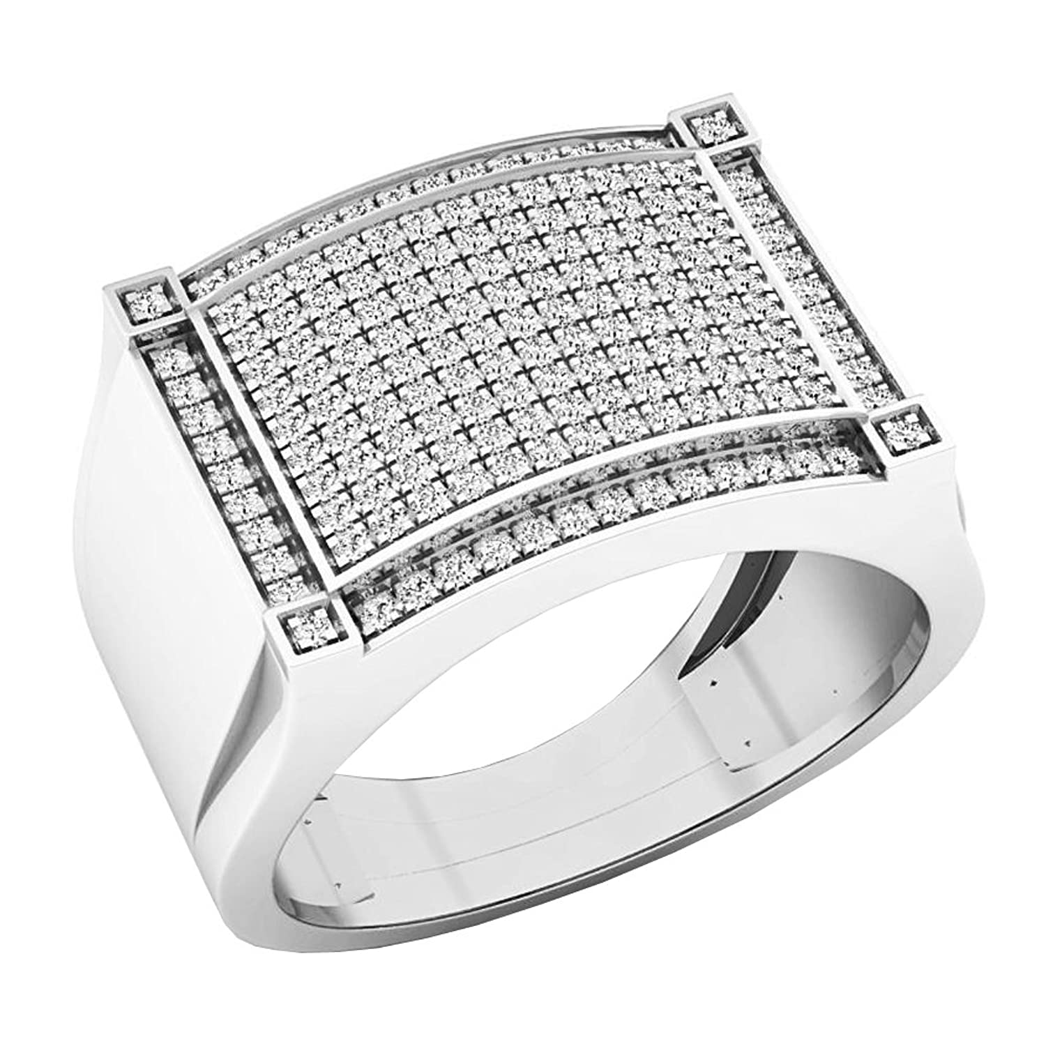 0.45 Carat (ctw) 10K Gold Round White Diamond Men's Hip Hop Micro Pave Wedding Band 1/2 CT