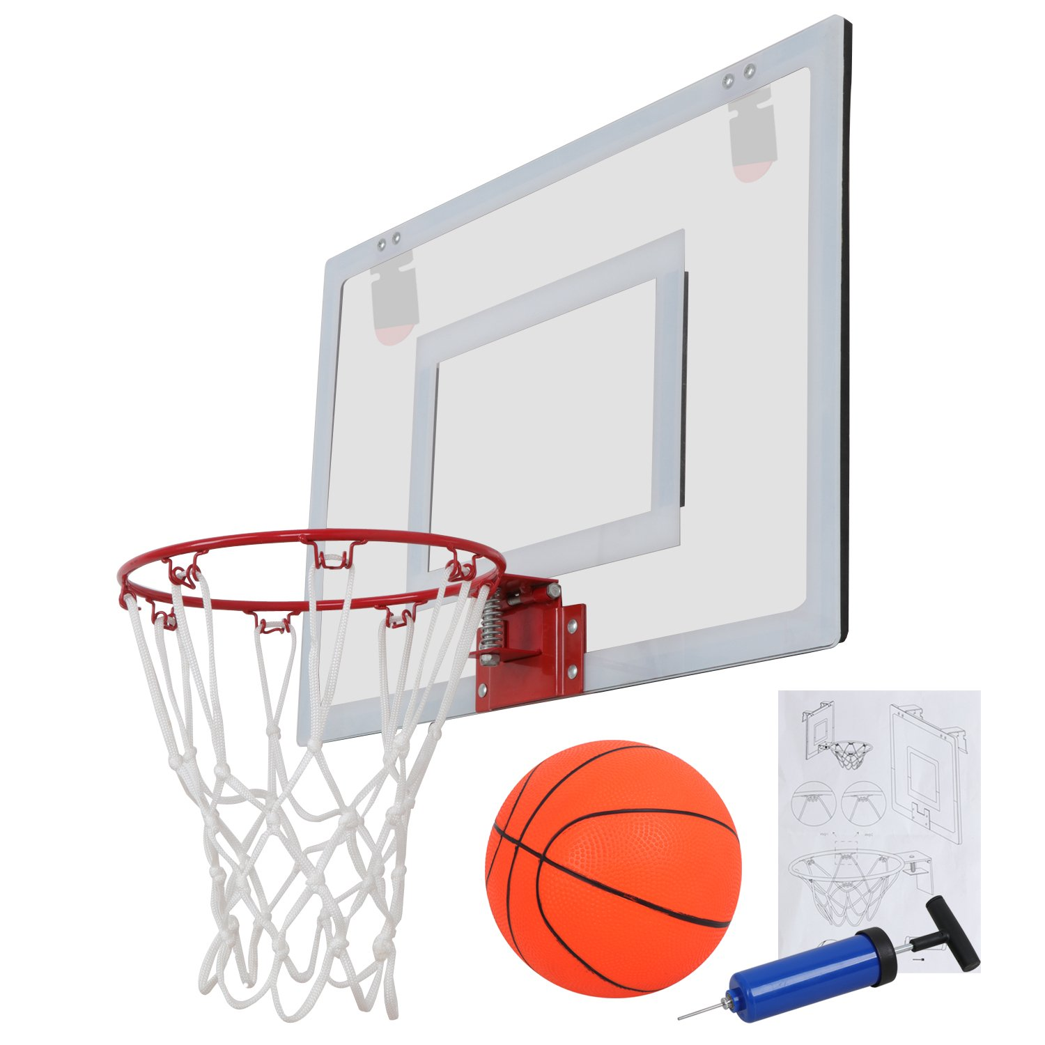 F2C Over The Door Wall Mount Indoor 9.5'' Mini Basketball Hoop Net Goal Set with 5.5'' Ball, Ball Pump, 23''X 16'' Backboard Basketball Toy Game Home Office Decor for Kids Education Basketball Lovers