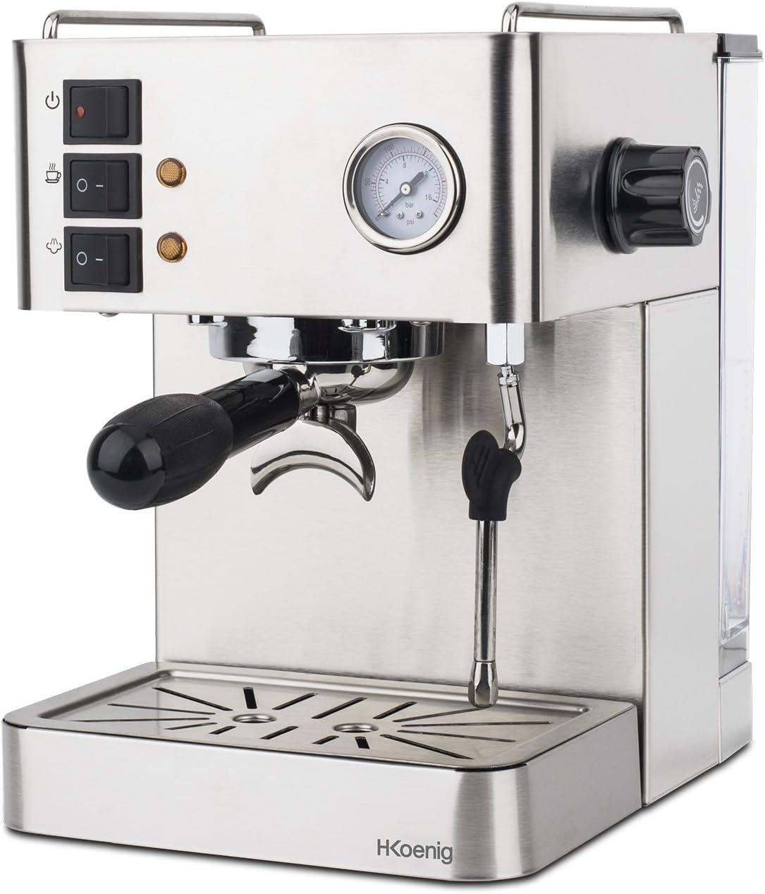 H.Koenig EXP530 Cafetera Express Espresso Profesional, 15 Bares, 1.7 L, 1450 W,Vaporizador Orientable, Doble Salida, Acero Inoxidable EXP350, 1.7 litros, Gris: Amazon.es: Hogar