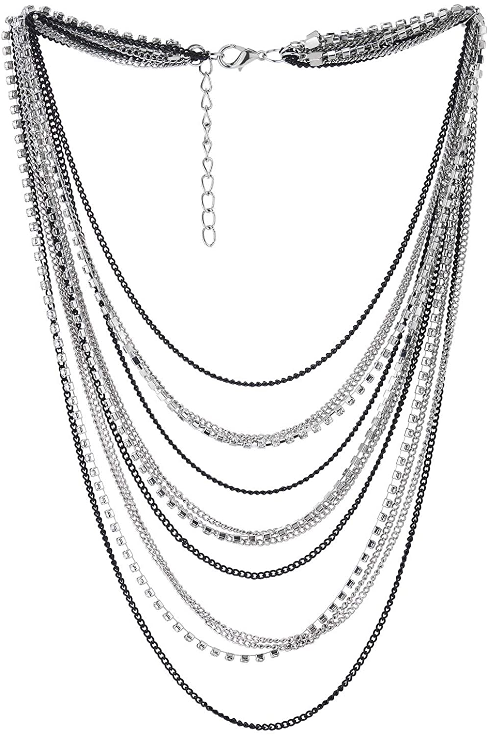 COOLSTEELANDBEYOND Waterfall Multi-Strand Chains Statement Collar Necklace with Rhinestones Chains, Dress