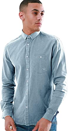 mens casual denim long sleeved shirt by Threadbare