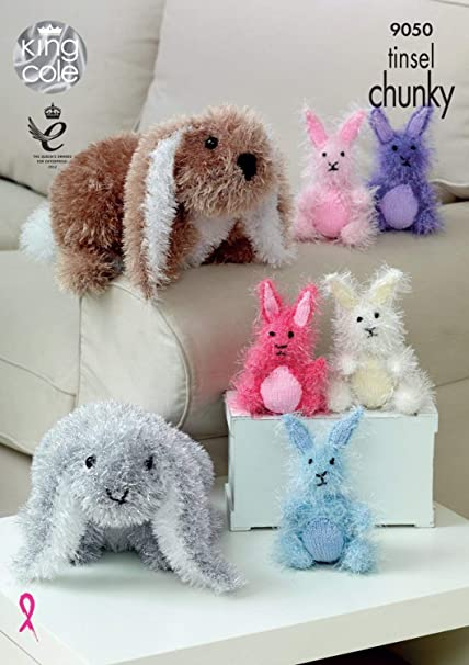 Amazon King Cole 9050 Knitting Pattern Toy Rabbits In Tinsel