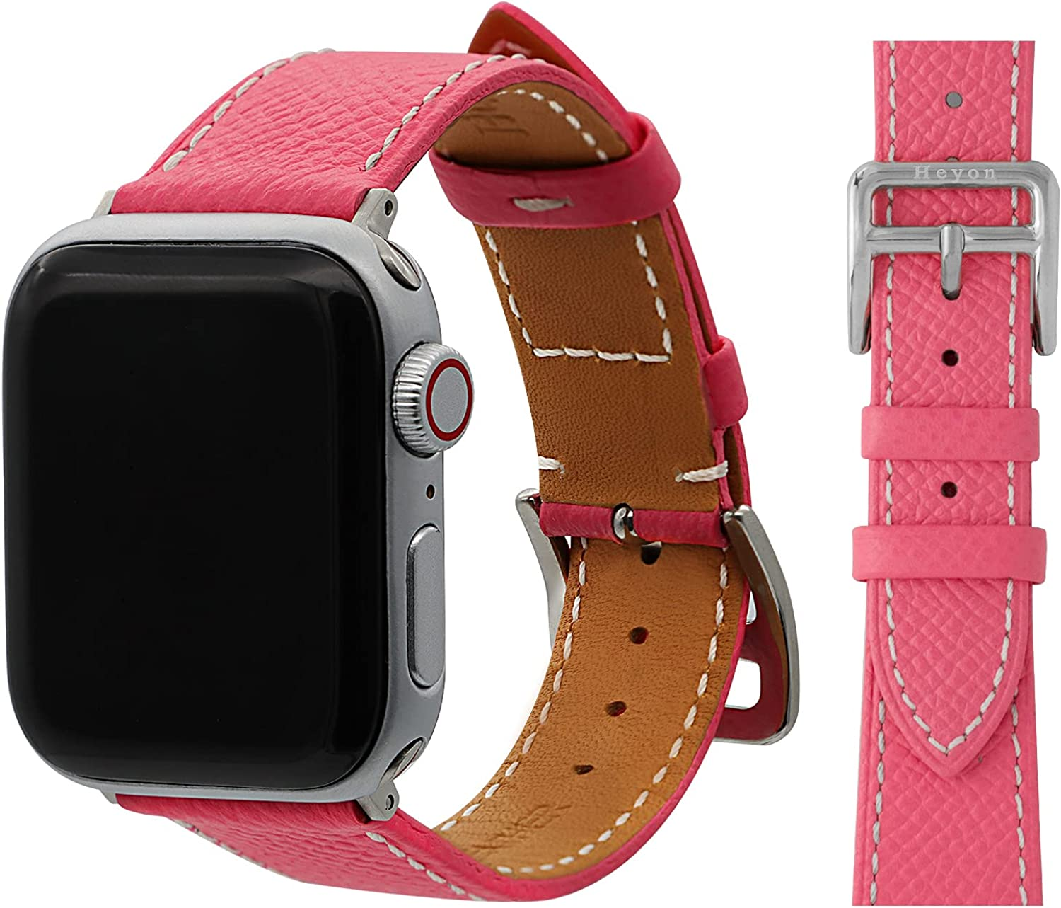 Heyon Women Leather Band Compatible with Apple Watch Band 44mm/38mm/40mm /42mm ,Thin and Soft French Calf Leather,Replacement Compatible for iWatch Strap Series 6/SE/5/4/3