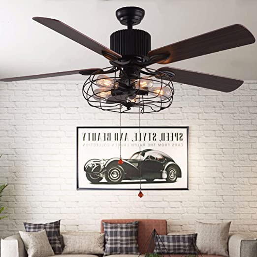 Amazon Com Bella Depot 48 Vintage Industrial Ceiling Fan Light Remote Control Pull Chains 5 Wood Reversible Blades Black Cage Ceiling Fan For Living Room Bedroom Restaurant Etc Kitchen Dining