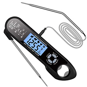 Meat Thermometer Dual Probes, Instant Read Cooking Thermometer Kitchen Food Thermometer with Alarm Setting, Backlight & Magnet for BBQ Grill Smoker Oven Oil Candy...