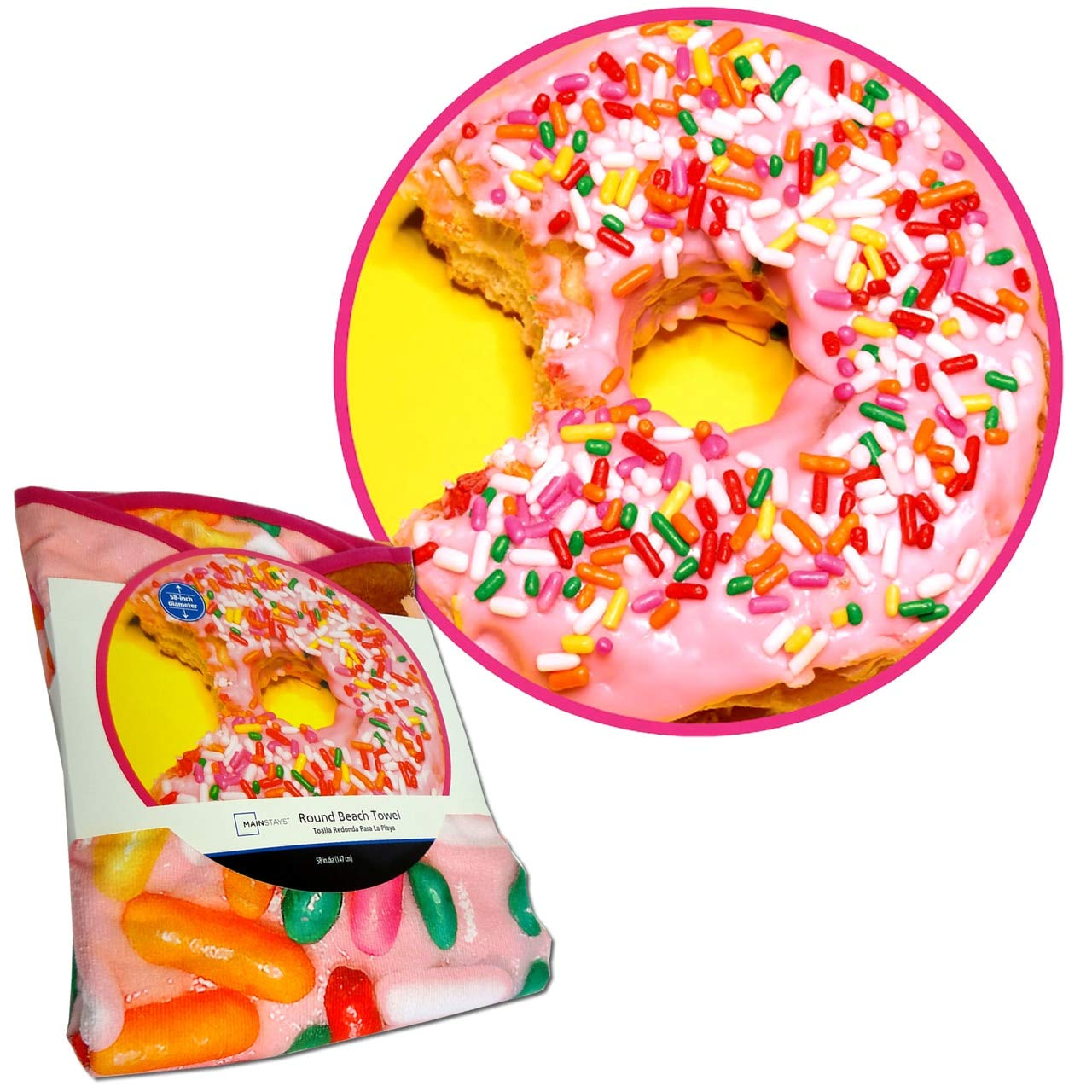 Amazon.com: Wal-Mart Mainstays Round Beach Towel Doughnut 58 IN dia: Home & Kitchen