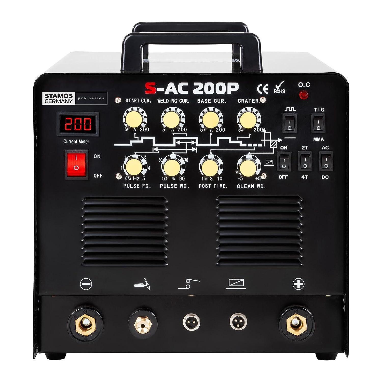 Stamos Germany Soldador de aluminio con pedal Soldadora Inverter Equipo de Soldadura TIG AC-DC MMA S-AC 200P (200 A/230 V, PRO Series Cable 8 m, ...