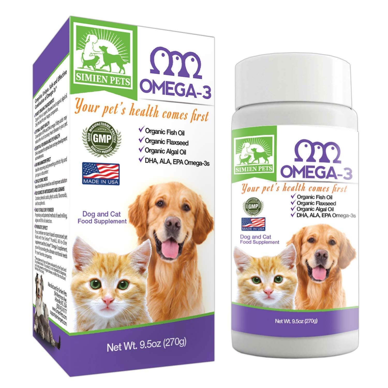 Organic Omega 3 Dogs & Cats - Fish, Algal & Flaxseed Oils - Shinier Coat & Skin - Optimal Heart, Brain & Eye Health - Anti inflammatory & Longevity Formula - DHA, EPA, ALA - Bonus eBook - by SIMIEN
