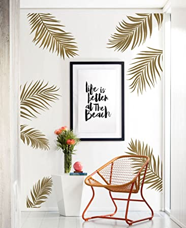 Amazon.Com: Palm Leaves Wall Decal - Gold Metallic - By Simple