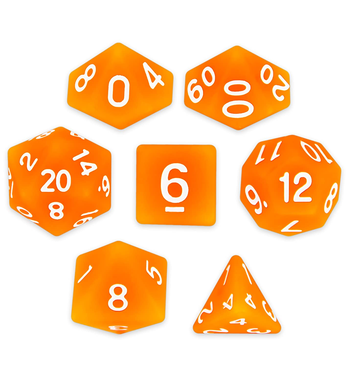 Wiz Dice Forge Embers Set of 7 Polyhedral Dice, Semi-Translucent Matte Finish Hunter Orange Tabletop RPG Dice with Clear Display Box   B07BFB7PBL